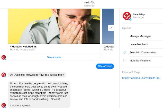 Facebook Messenger Bot - HealthTap