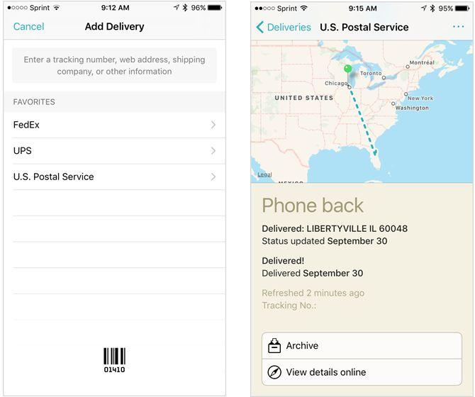 entregas seguimiento de aplicación para el iPhone