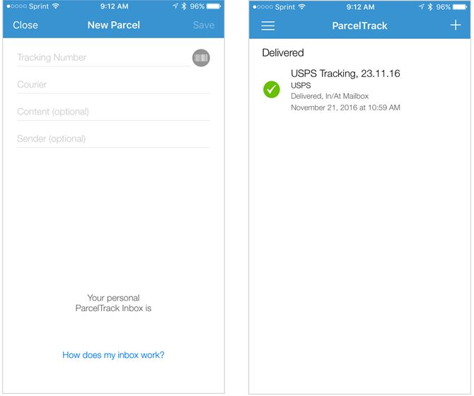 aplicación para el iPhone parceltrack