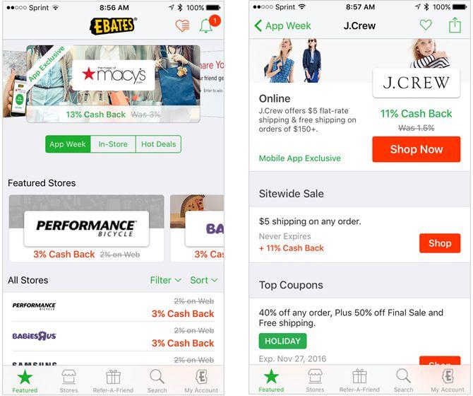 aplicación para el iPhone ebates