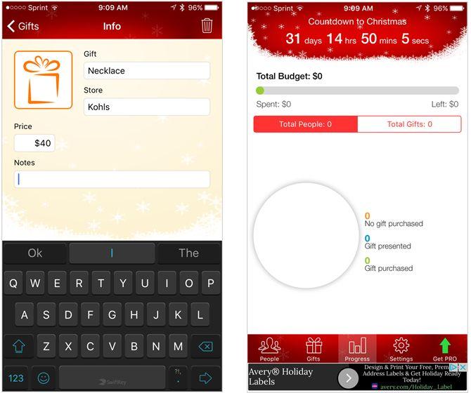 la aplicación gratuita para iPhone lista de regalos de Navidad