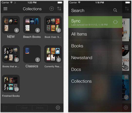las categorías de aplicaciones Kindle