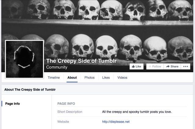 Facebook pantalla espeluznante Tumblr