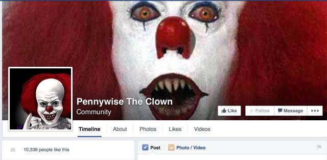 Pennywise el payaso página de Facebook
