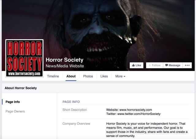 Sociedad de terror Facebook