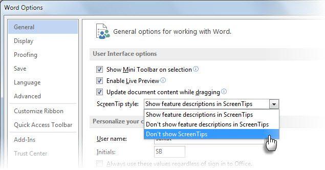Microsoft Word sobre herramientas - Opciones