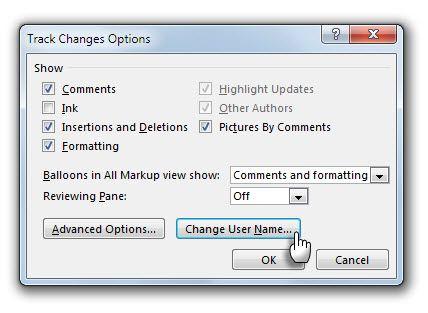 Opciones de seguimiento - Cambiar nombre de usuario