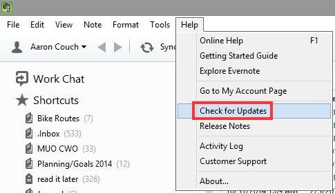1.3 Evernote - comprobar si hay actualizaciones