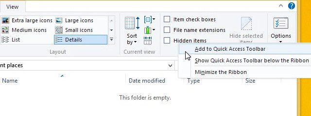 Add-To-rápido acceso en la barra de herramientas