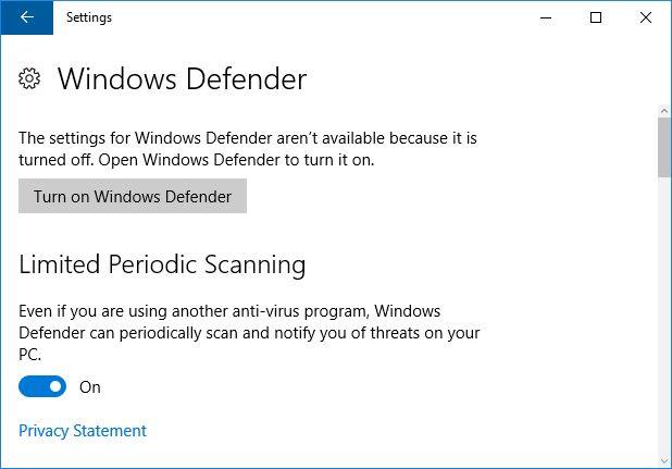 Windows Defender de exploración periódica
