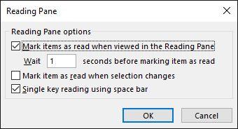panel de lectura de Outlook