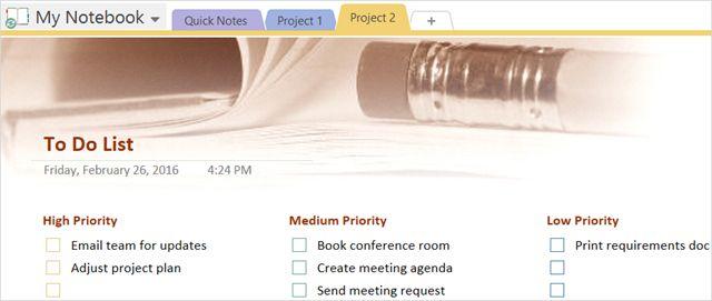 Plantilla de lista de tareas Tareas OneNote Prioridad