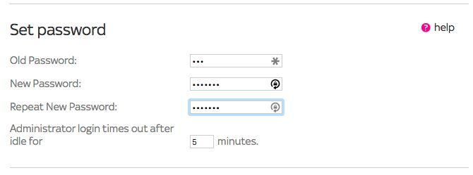 Configuración del router Cambiar contraseña