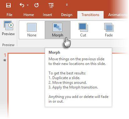 La aplicación de Morph en PowerPoint