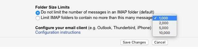 Gmail IMAP límites