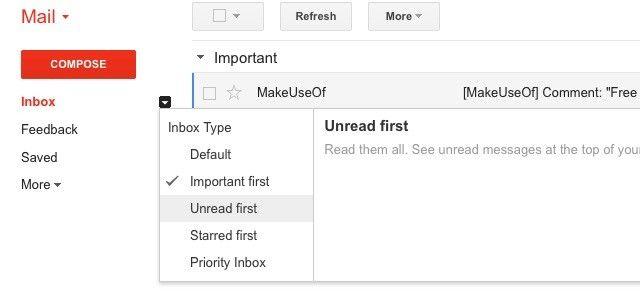 Gmail bandeja de entrada de los estilos