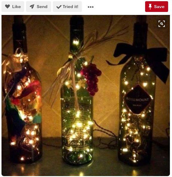 luces botella de vino romántica