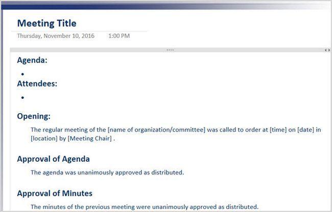 Acta de la reunión formal OneNote 2016