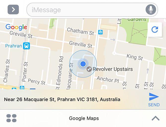 Google I-Mensaje mapas