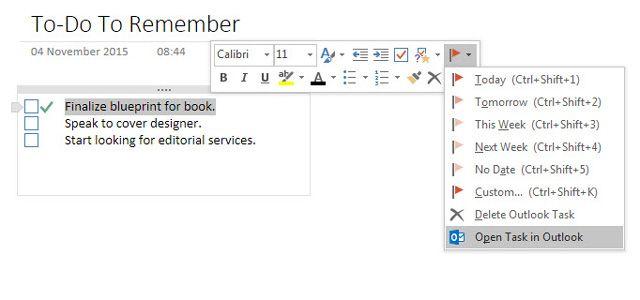 Tomar notas desde Outlook