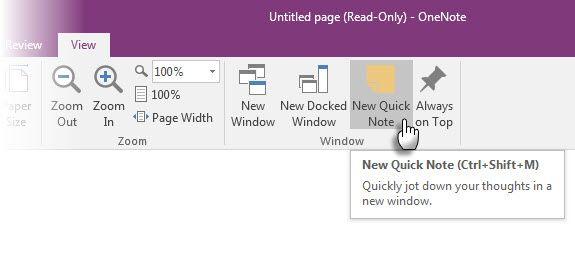 Microsoft OneNote - Nueva nota rápida