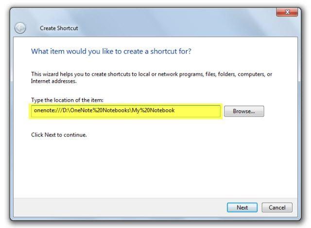 Microsoft OneNote - acceso directo del escritorio