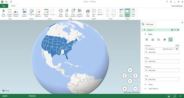 Excel 2016 - Mapa 3D