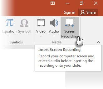 grabación de la pantalla con PowerPoint 2016