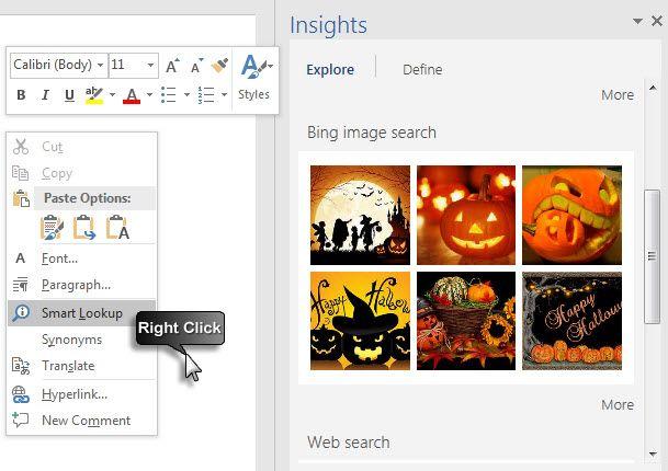 Microsoft Office 2016 - búsqueda inteligente con Bing