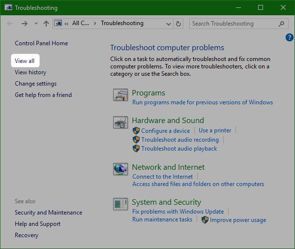 de visualización de todo-Windows-10-solucionador de problemas