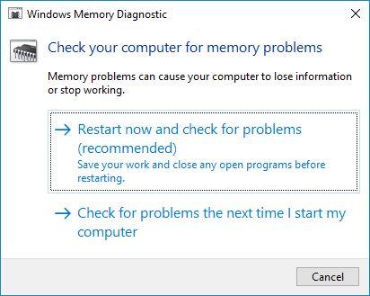 ventanas de diagnóstico de memoria