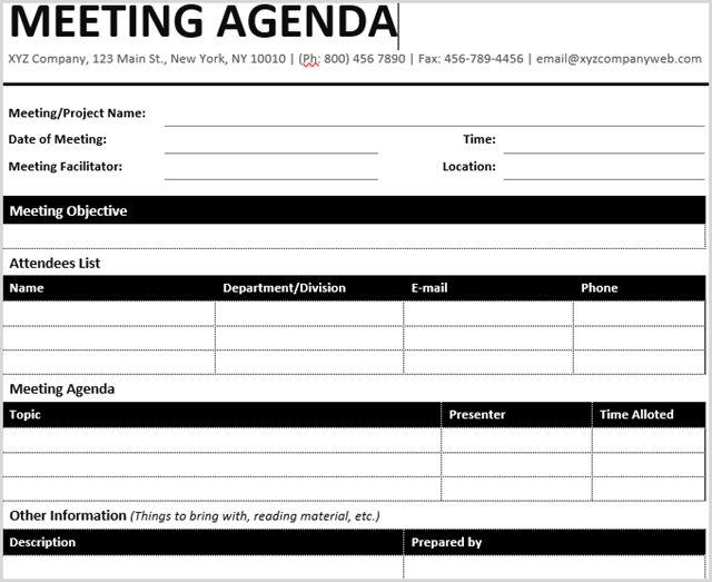 Reunión formal de la plantilla de Microsoft Word