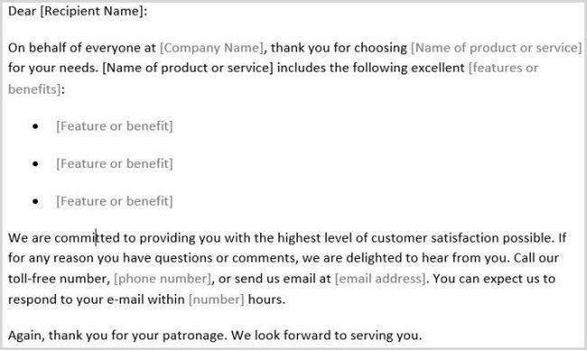 Gracias al cliente Modelo de carta Palabra