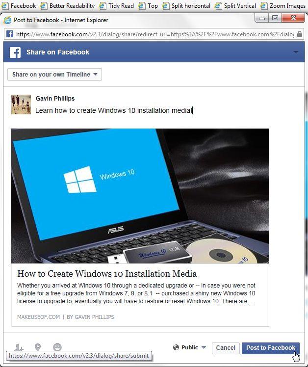 Internet Explorer 11 Facebook bookmarklet