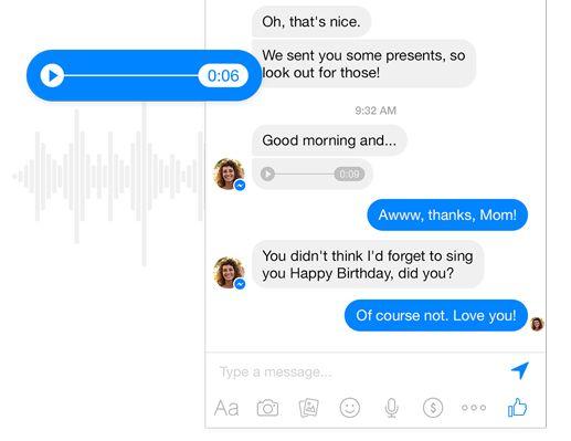 Grabación de voz Facebook Messenger