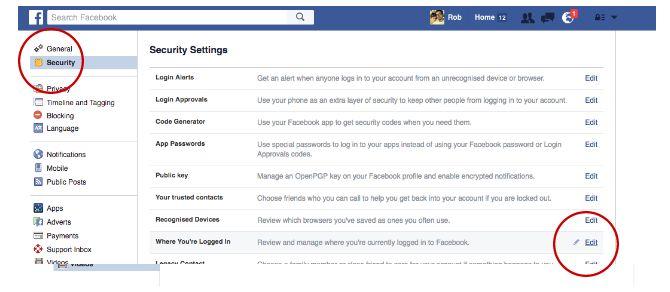 Facebook trucos y características - Gestor de inicio