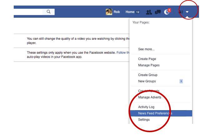 Trucos de Facebook y características - Preferencias de noticias externas