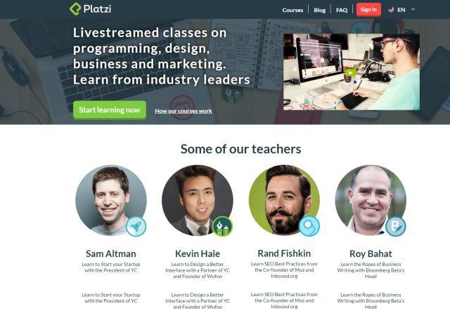 Aprendizaje en línea sitio web - Platzi