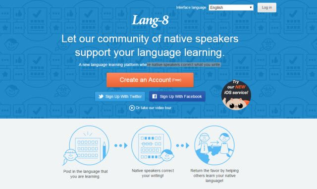 El aprendizaje en línea sitio web - Lang-8