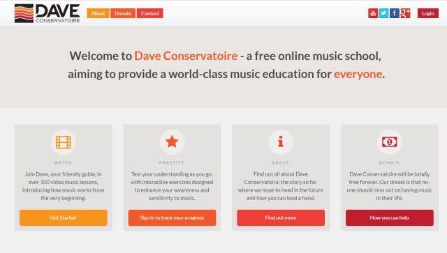 El aprendizaje en línea sitio web - Conservatorio de Dave