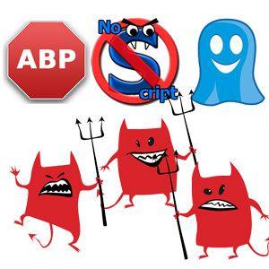 Adblock, noscript y ghostery - la tripleta del mal