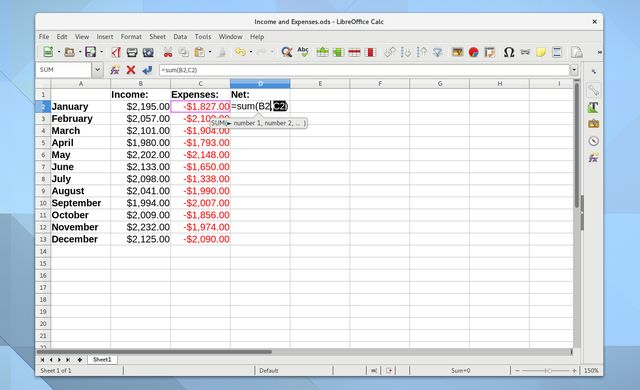Linux Budge Aplicaciones LibreOffice Calc Captura de pantalla