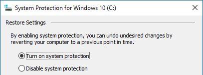 Protección del sistema de Windows 10