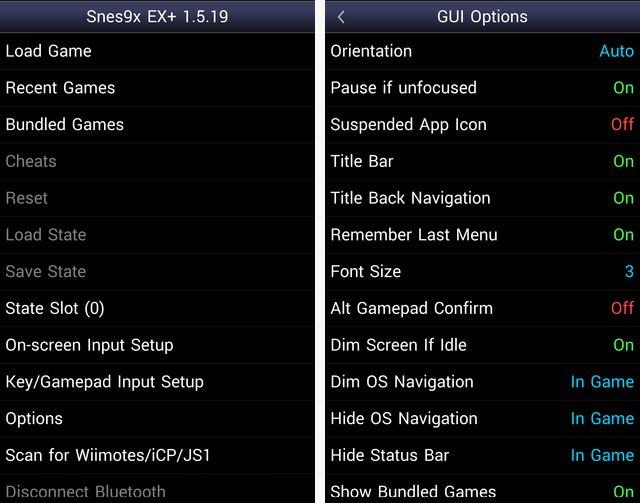Emulador de SNES Opciones Android
