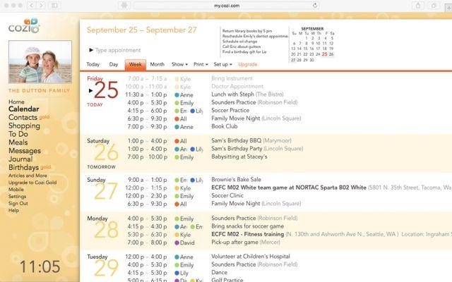 Interfaz Calendario cozi