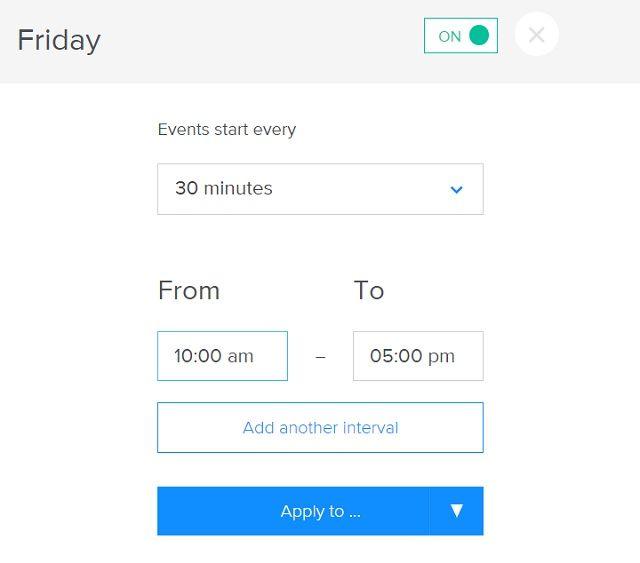 Configuración de la hora del día Calendly