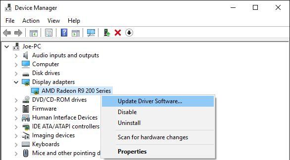 Actualización de software administrador de dispositivos