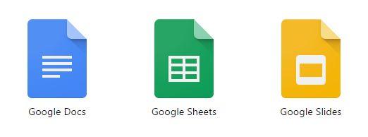 Los iconos de Google Docs