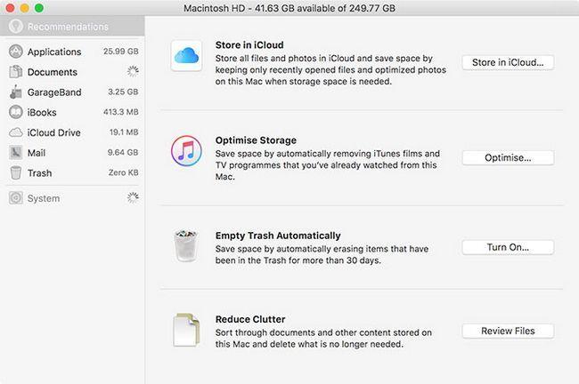 Administración de almacenamiento en MacOS Sierra