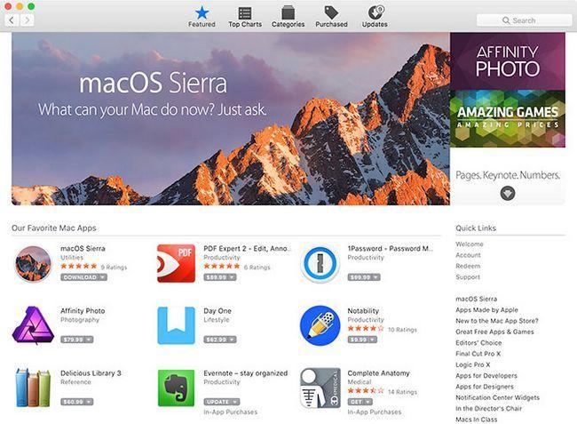 MacOS Sierra App Store